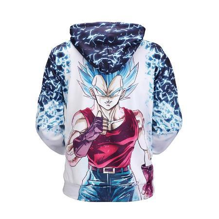 Pullover Hoodie - Dragon Ball Z Hoodie Featuring Super Saiyan Blue Goku 悟空 Punching His Fist
