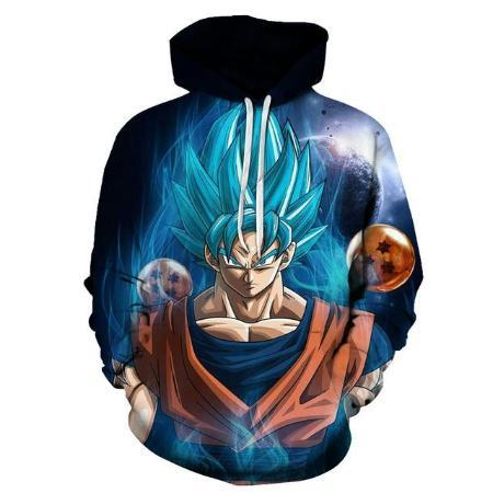 Pullover Hoodie - Dragon Ball Z Hoodie Featuring Super Saiyan Blue Goku 悟空 Surrounded By Dragon Balls