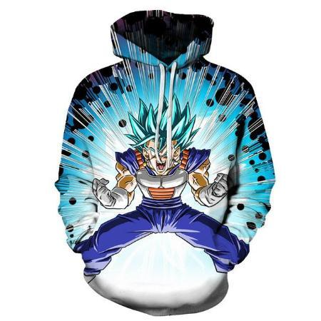 Pullover Hoodie - Dragon Ball Z Hoodie Featuring Super Saiyan Blue Vegeta ベジータ Explosion