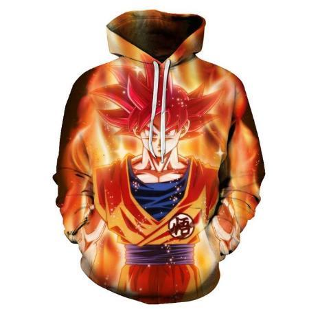 Pullover Hoodie - Dragon Ball Z Hoodie Featuring Super Saiyan God Goku 悟空 In Aura