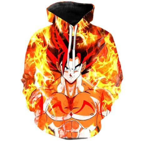 Pullover Hoodie - Dragon Ball Z Hoodie Featuring Super Saiyan God Goku In Flames