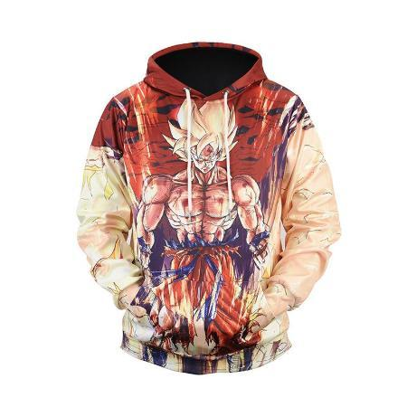 Pullover Hoodie - Dragon Ball Z Hoodie Featuring Super Saiyan Goku 悟空 Flexing Muscles