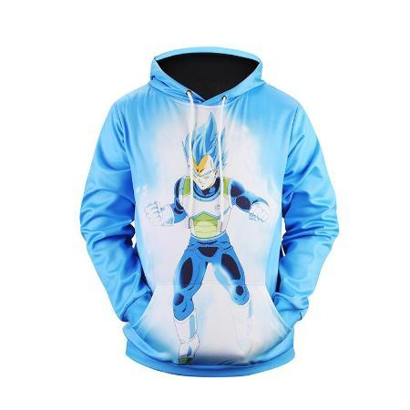 Pullover Hoodie - Dragon Ball Z Hoodie Featuring Vegeta ベジータ Super Saiyan Blue Form