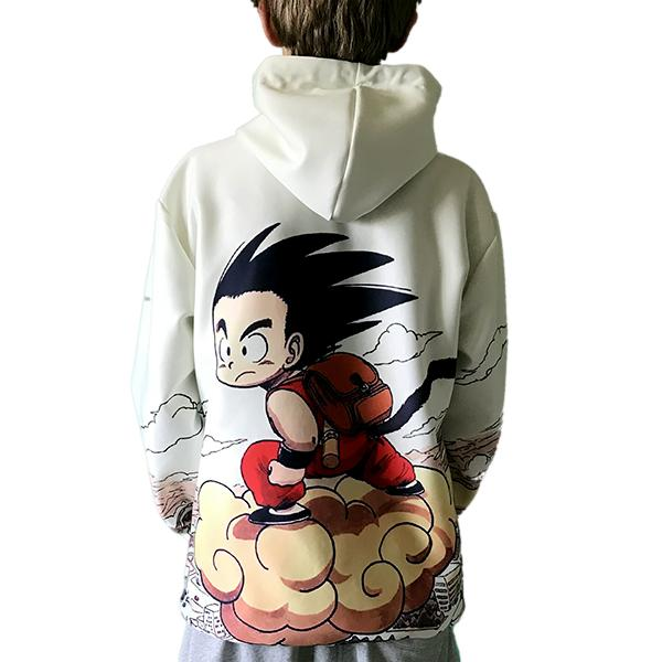 Pullover Hoodie - Dragon Ball Z Hoodie Featuring Vintage Look With Kid Goku 悟空 Riding Cloud Nimbus