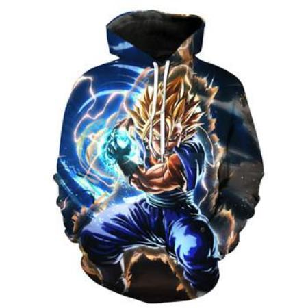 Pullover Hoodie - Dragon Ball Z Pullover Hoodie Featuring Powering Up Super Saiyan Goku 悟空