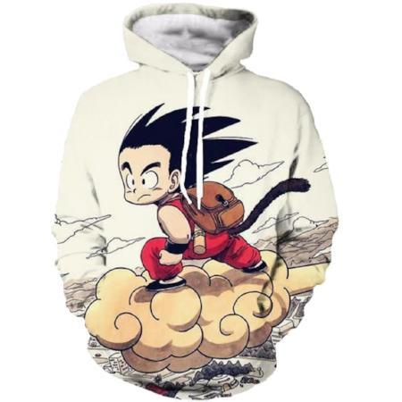Pullover Hoodie - Dragon Ball Z Pullover Hoodie Featuring Vintage Look With Kid Goku 悟空 Riding Cloud Nimbus