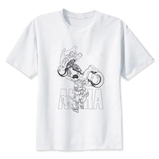 T-Shirt - Akira Shirt アキラ Clean Sketch Of Kaneda And His Bike