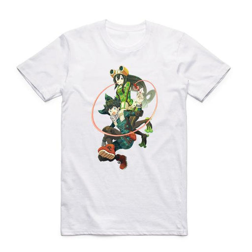T-Shirt - My Hero Academia Shirt 僕のヒーローアカデミア Izuku Jumping With Tsuyu