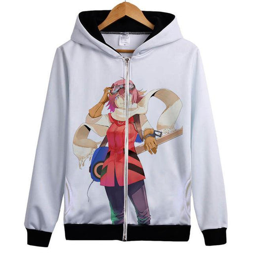 Zip Hoodie - FLCL  Fooly Cooly Zip Hoodie フリクリ Haruko With Goggles And Guitar