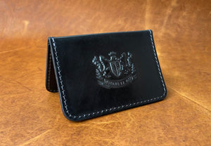 Card Wallet -Premium Horween Black DOUBLE Shell Cordovan - Mitchell Leather