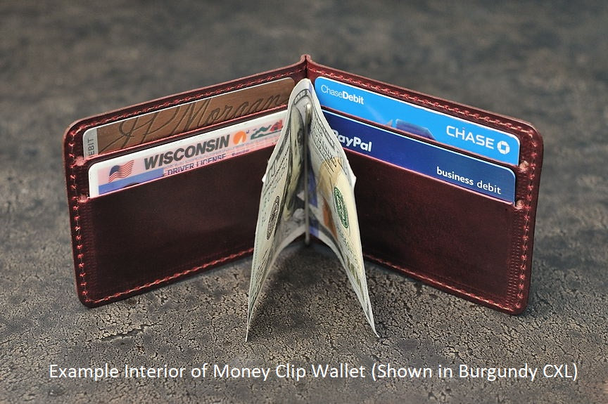 Inside of Mitchell Leather Money Clip Wallet