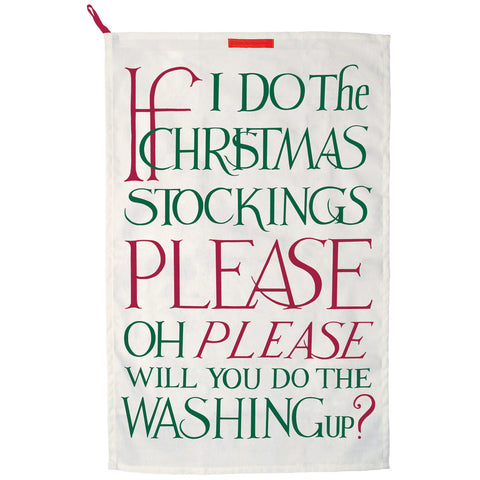Christmas Stockings Washing Up Tea Towel