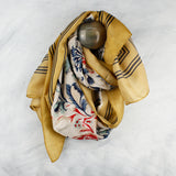 Bordered Floral Silky Scarf