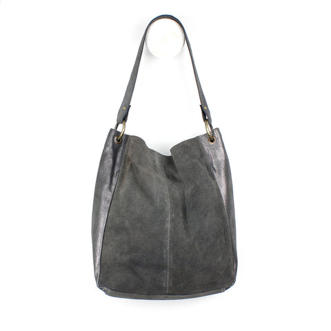Grey Suede Shoulder Bag