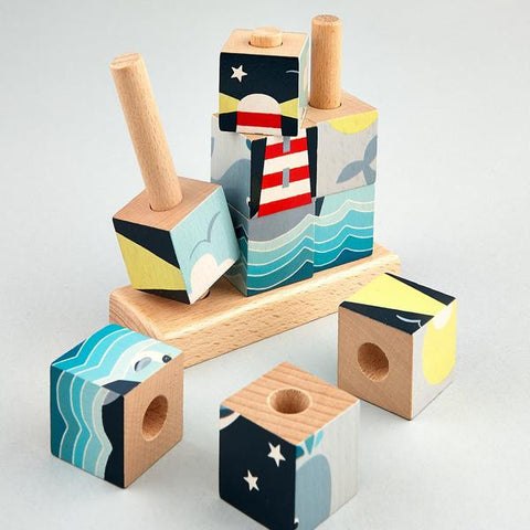 Wooden Cube Whale Puzzle