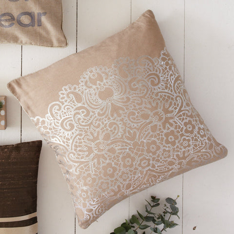 Metallic Lace Print Cushion