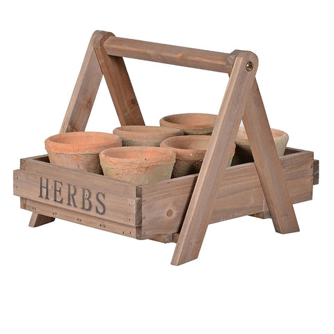 Wooden Crate with Pots