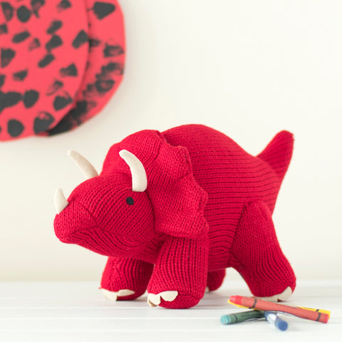 Knitted Triceratops Toy