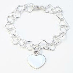 Silver Heart Linked Bracelet