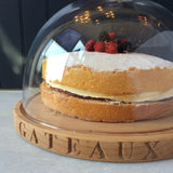 Wooden Cakeboard & Glass Dome