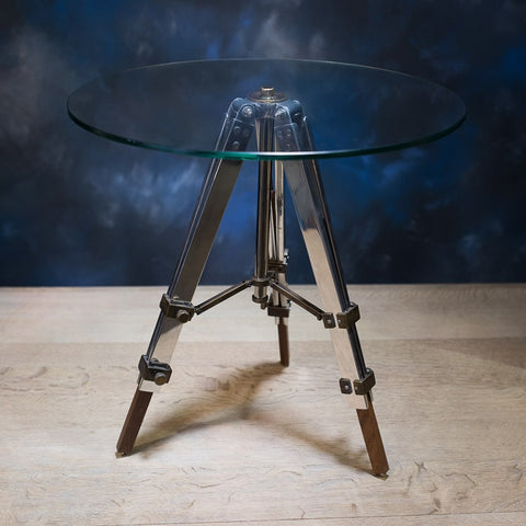 Glass Tripod Side Table