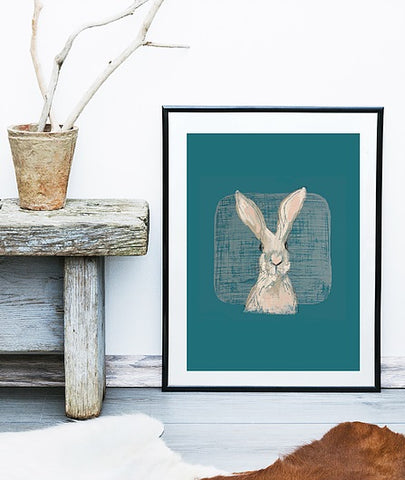 Teal Hare Print