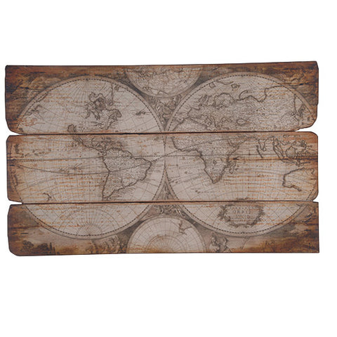 Wooden Plaque Globe Map