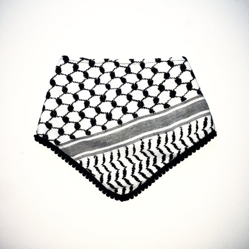 black trim keffiyeh bib