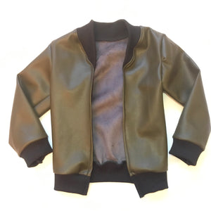 leather cardi•army green
