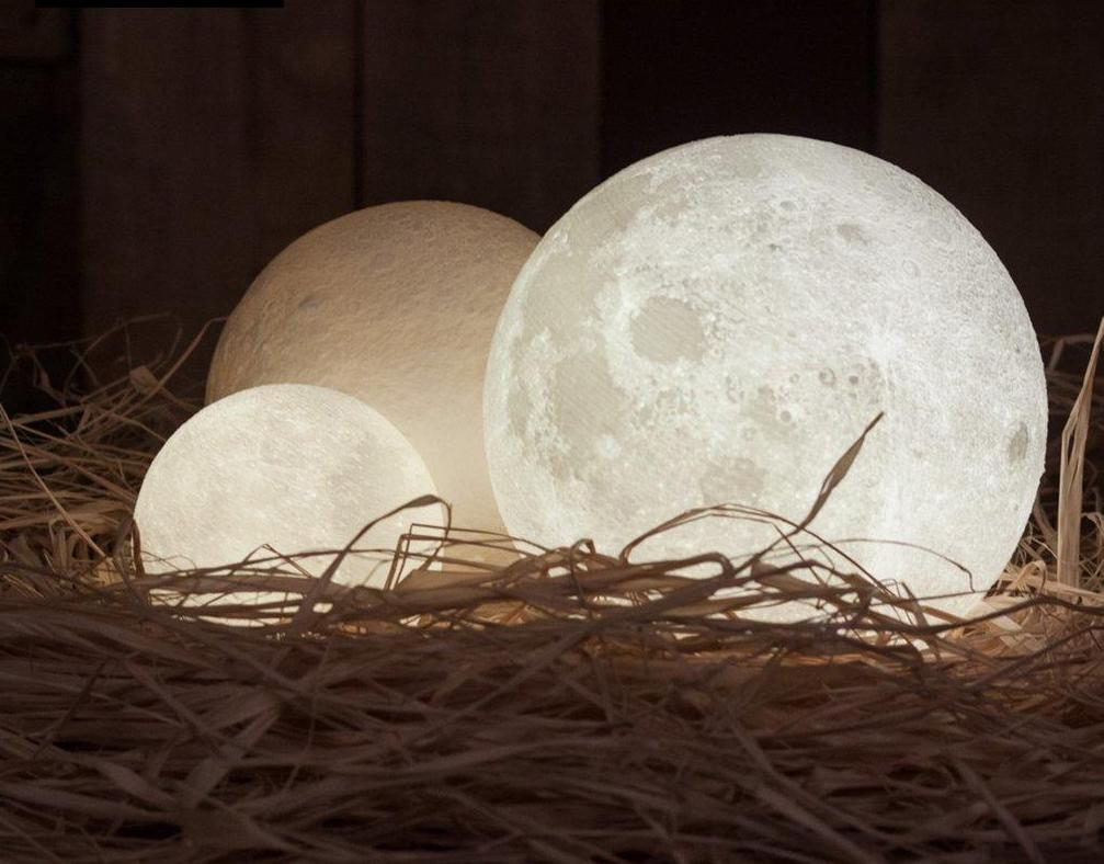 3D Moon Lamp with Wooden Stand | WoodPass