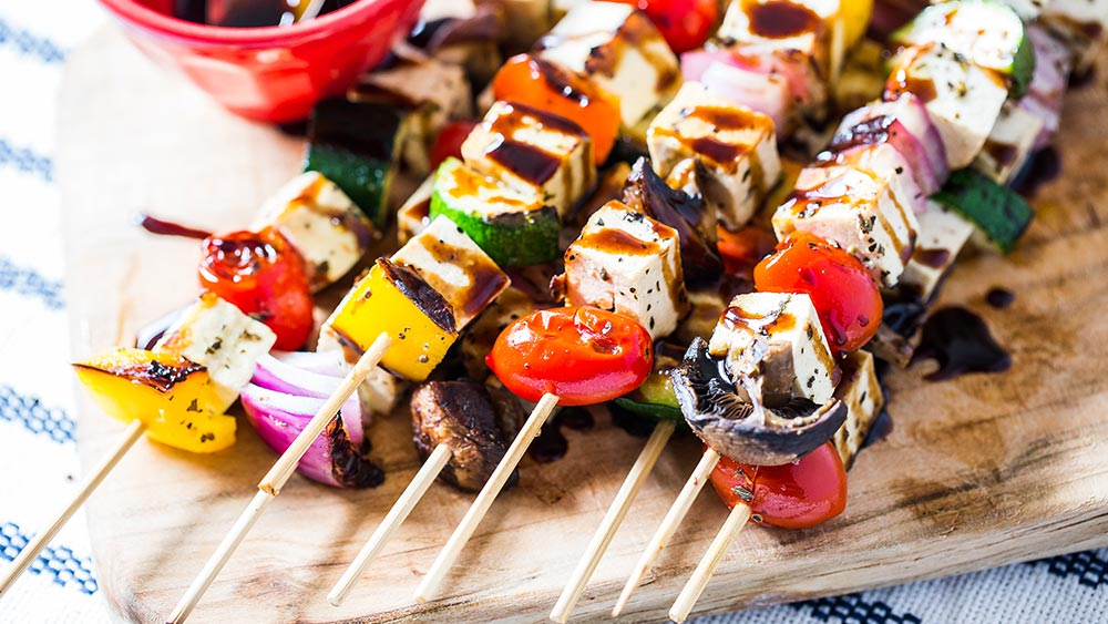Planned Potluck: Tofu Feta Skews with Balsamic Glaze