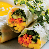 Summer Rolls with Mango Lime & Mint Dipping Sauce