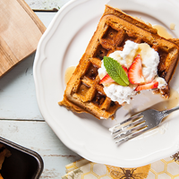 Strawberry Protein Waffles with Whipped Cream