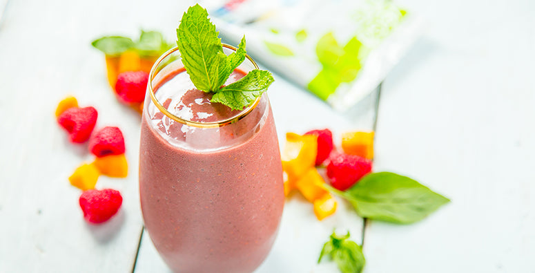 Mint Basil Raspberry Smoothie