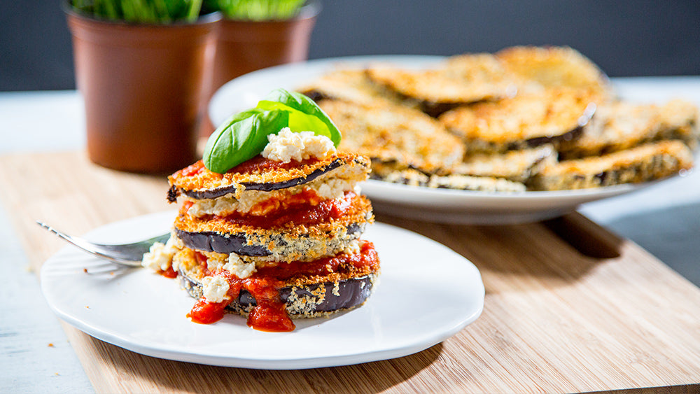 Vegan Eggplant Parmesan Stacks