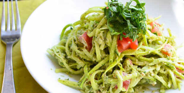 Raw Zucchini Noodles with Pesto