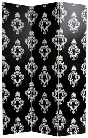 Black and White Damask Art Print Screen (Canvas/Double Sided) - Spa & Bodywork Market