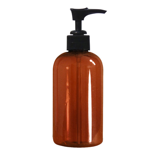 Amber Plastic Bottle with Pump - 8 oz - Spa & Bodywork Market