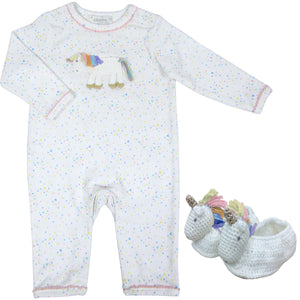 53fc100d5 These Albetta hand crocheted soft cotton booties and matching babygrow make  a magical baby gift. Rainbow Unicorn ...