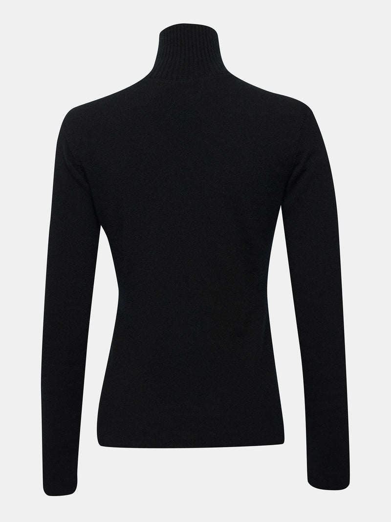 Jet black cashmere built in bra sweater