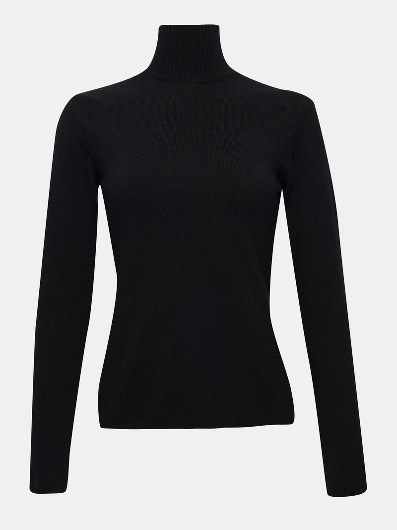 Jet black turtleneck sweater built in bra