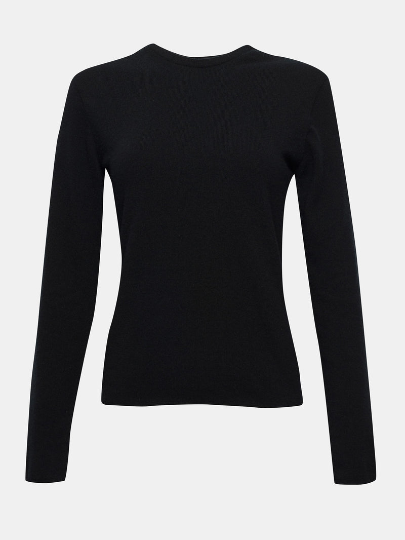 Built in bra luxury crew neck sweater black Jet