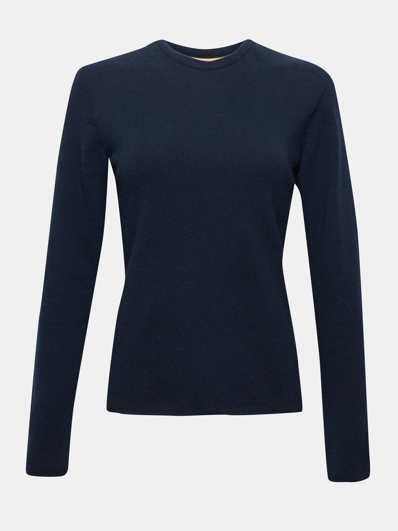 Built in bra luxury crew neck sweater navy blue Admiral