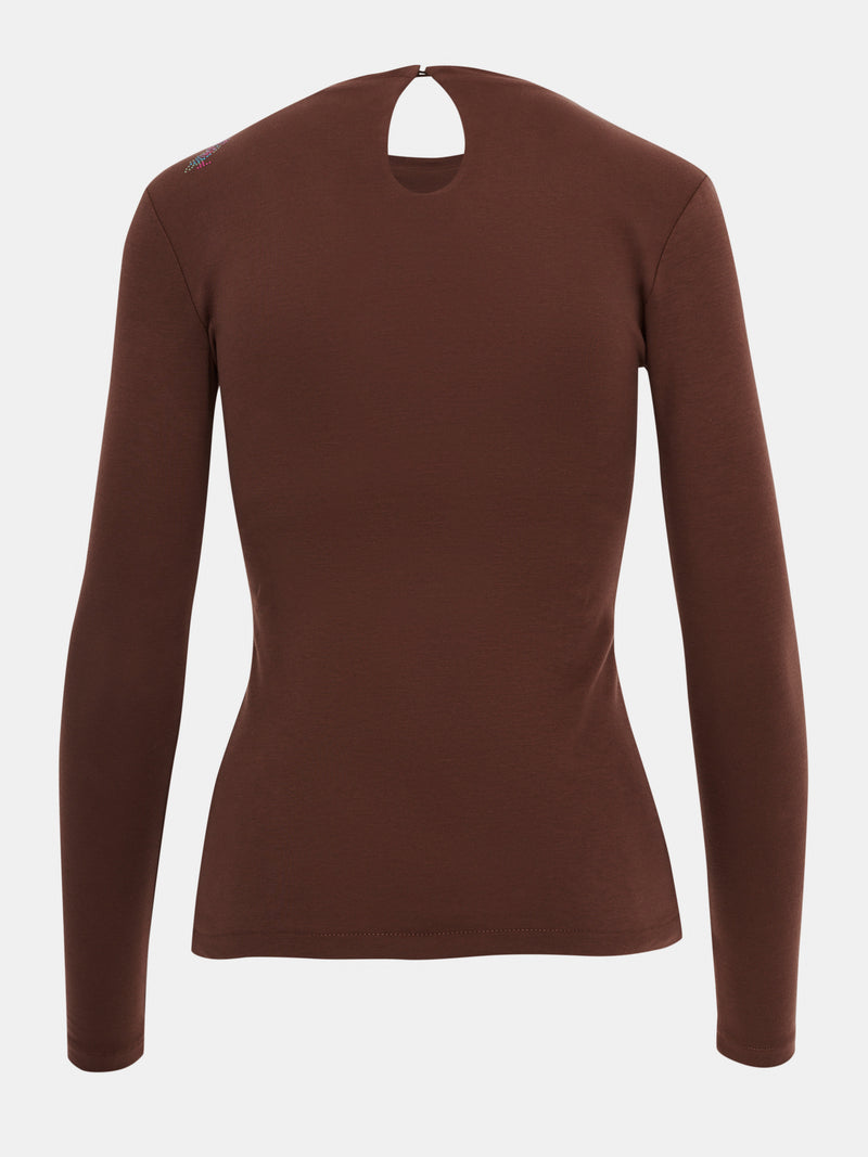 Built in bra luxury long sleeve top Brown Chocolate