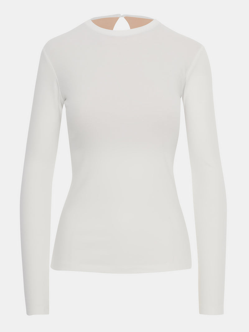 Built in bra luxury long sleeve top white Cloud