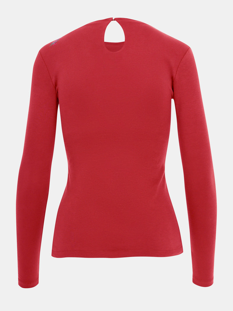 Built in bra luxury long sleeve t shirt top red Heart