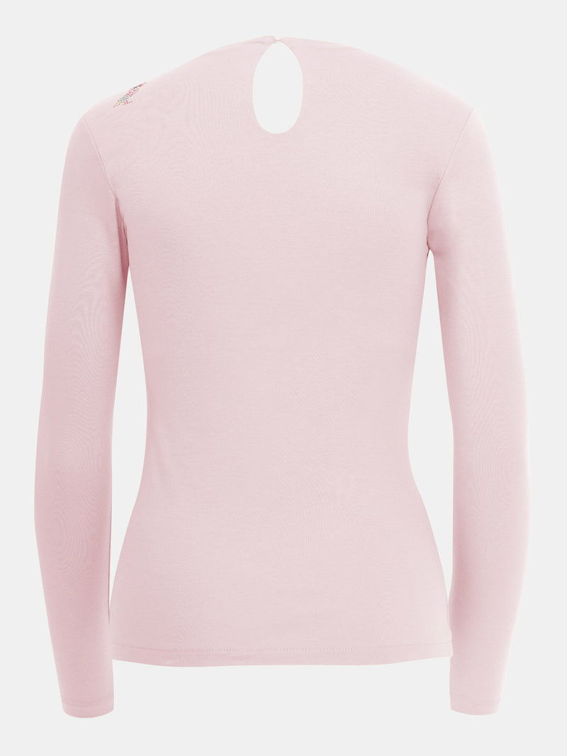 Built in bra luxury long sleeve t shirt top pink Petal