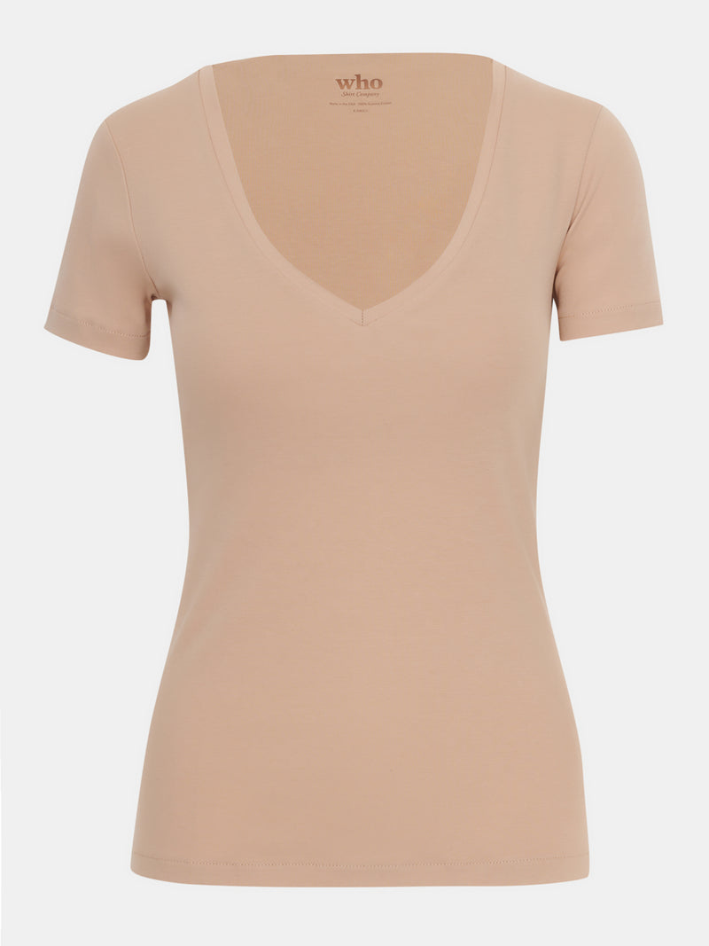 Built in bra luxury top t shirt top beige nude Beach