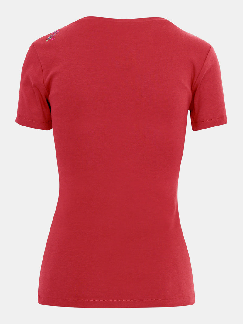 Built in bra luxury top t shirt top red Heart