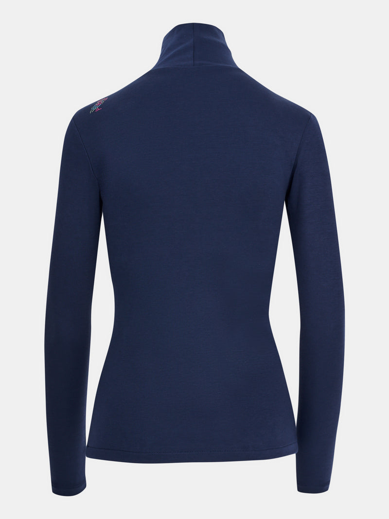 Built in bra luxury top t shirt turtleneck top navy blue Admiral